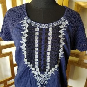 Lucky Brand Tops - Lucky Brand Blue White Black Embroider Top Shirt M